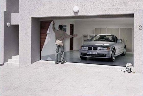 A German Firm Called Style Your Garage Creates Posters For Doors That Make It Look As If S Actually Showing The Interior Of